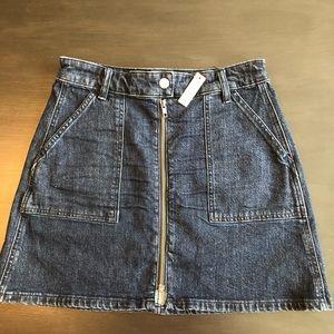 Madewell zip up denim skirt